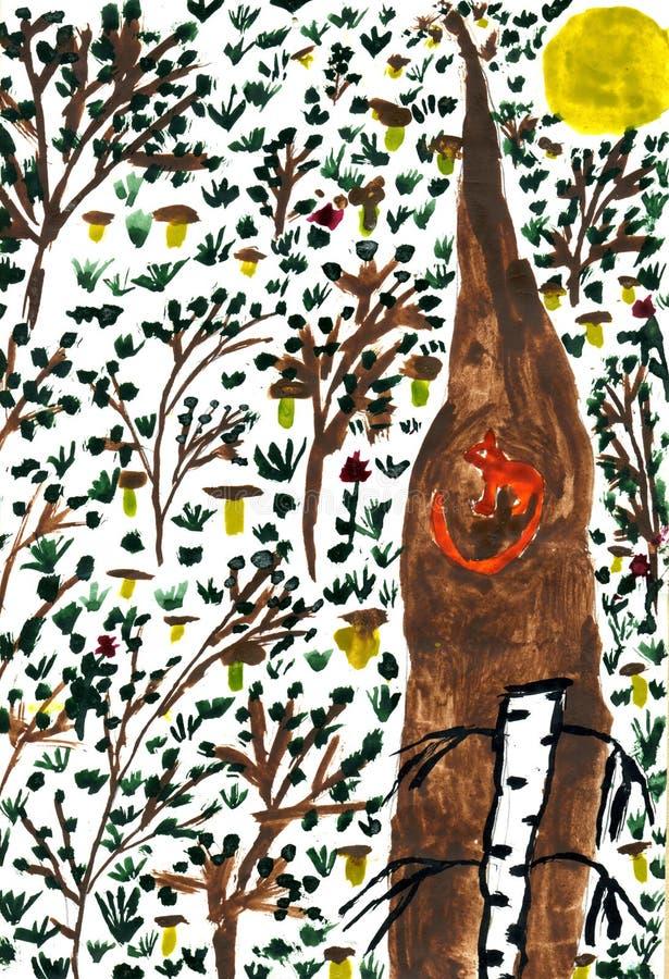 Wald mit Pilzen vektor abbildung