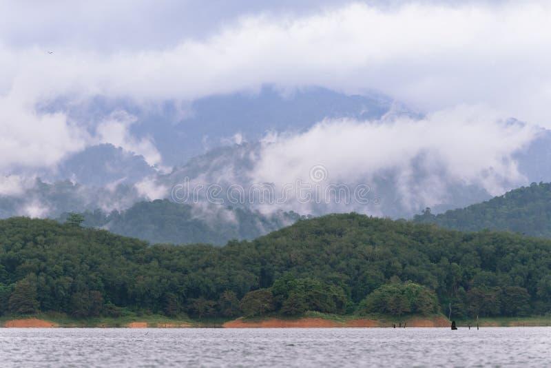 Wald- und Wasserlandschaft bei Hala-Bala Wildlife Sanctuary nahe Knall Lang Reservoir lizenzfreies stockfoto