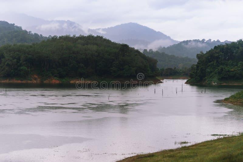 Wald- und Wasserlandschaft bei Hala-Bala Wildlife Sanctuary nahe Knall Lang Reservoir lizenzfreies stockbild