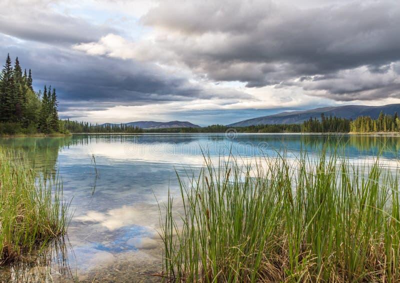 Wald und zerstreute Wolke reflektierten sich im klaren, ruhigen Boya See lizenzfreie stockfotografie