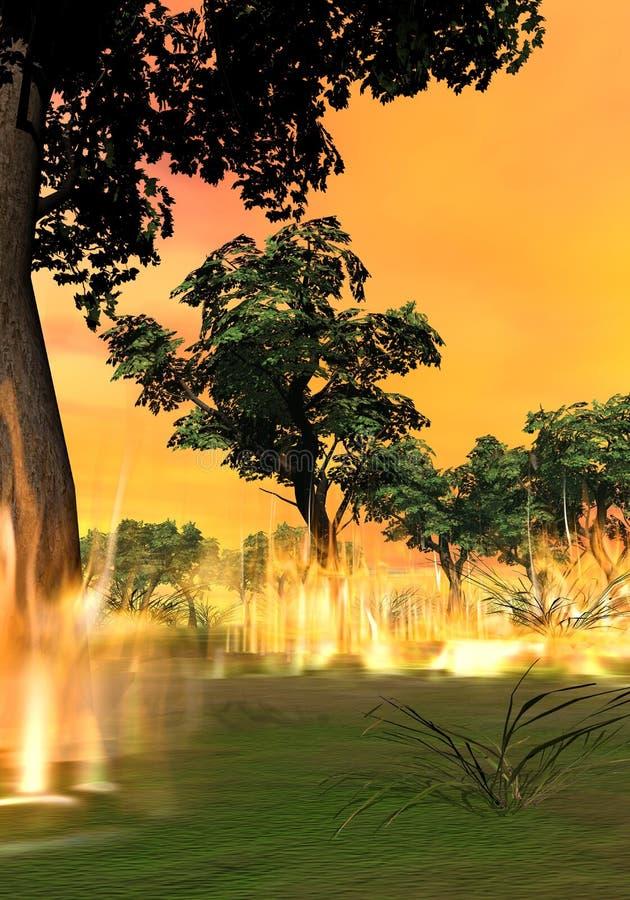 Waldbrandbeginnen - 3D übertragen stock abbildung