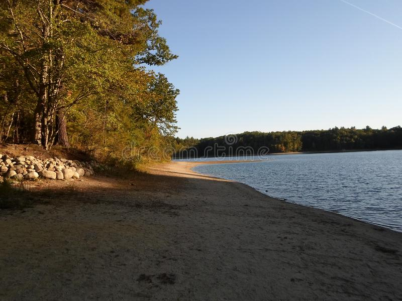 Walden Pond and Walden Pond State Reservation, Concord, Massachusetts, USA. Walden Pond, a lake in Concord, Massachusetts, in the United States and Walden Pond stock photo