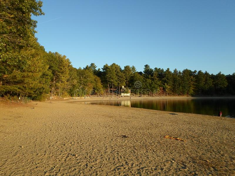 Walden Pond and Walden Pond State Reservation, Concord, Massachusetts, USA. Walden Pond, a lake in Concord, Massachusetts, in the United States and Walden Pond stock image