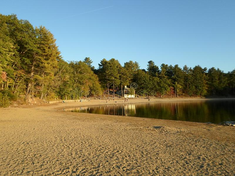Walden Pond and Walden Pond State Reservation, Concord, Massachusetts, USA. Walden Pond, a lake in Concord, Massachusetts, in the United States and Walden Pond stock photography