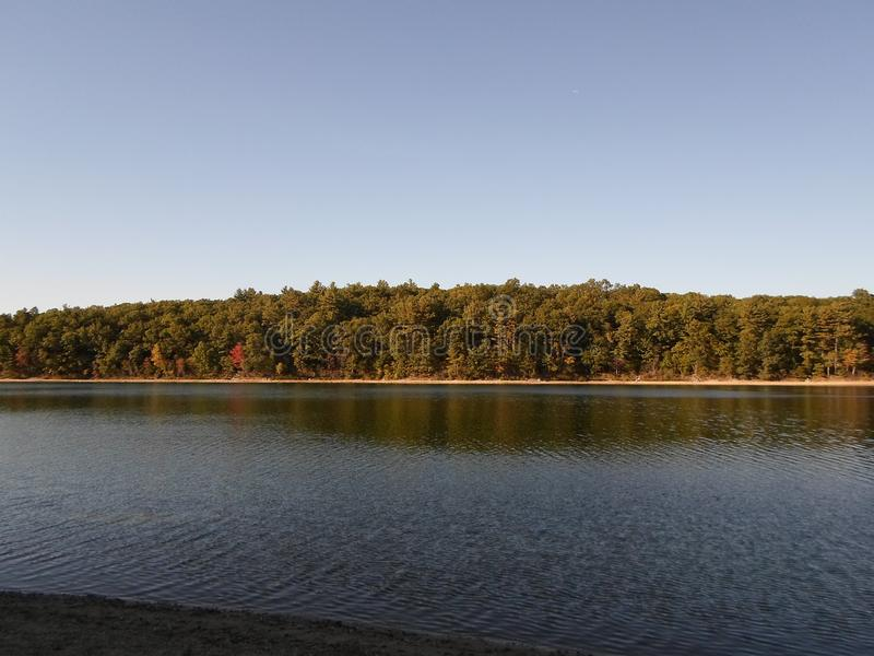 Walden Pond und Walden Pond State Reservation, ?bereinstimmung, Massachusetts, USA lizenzfreie stockfotos