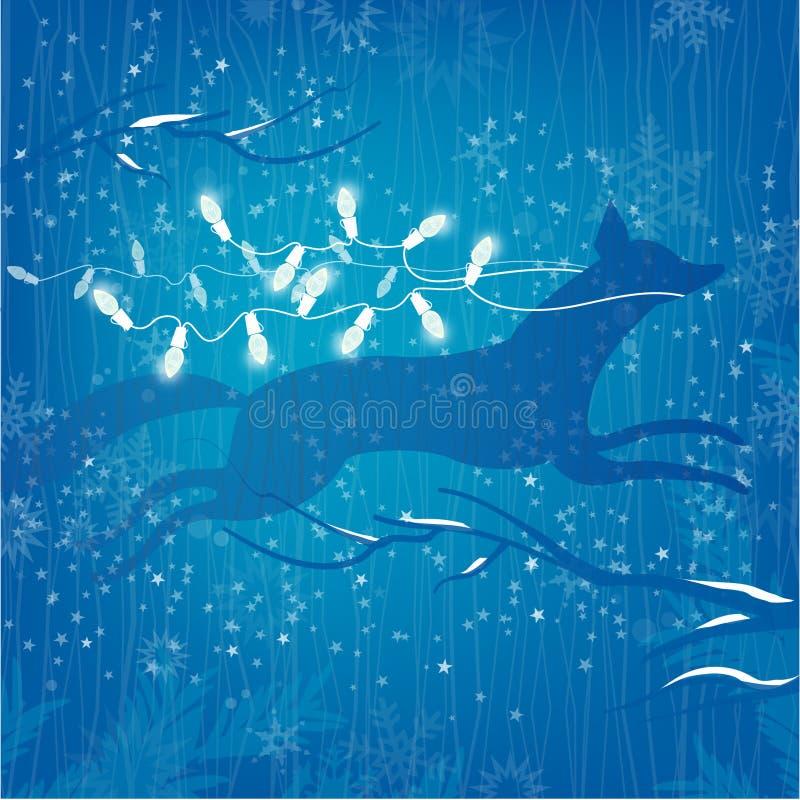 Waldfuchs weiße Weihnacht beleuchtet auf blauem Hintergrund mit Sternen lizenzfreie abbildung