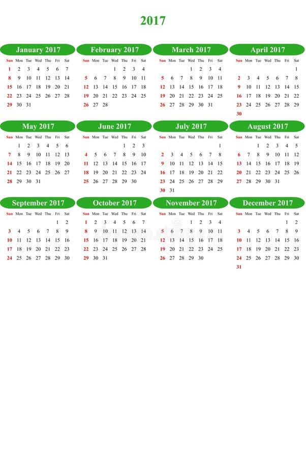 Waldgrün färbte klar farbigen einfachen Kalender 2016 stock abbildung