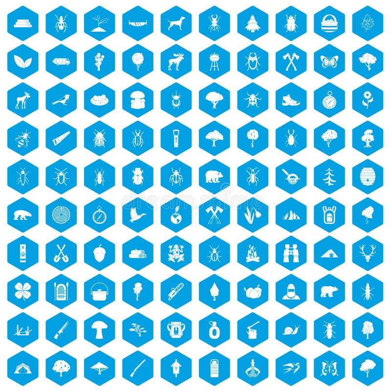 100 Waldikonen blau eingestellt vektor abbildung