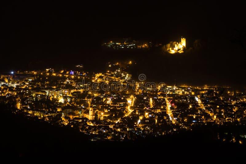 Waldkirch vid natt royaltyfria foton
