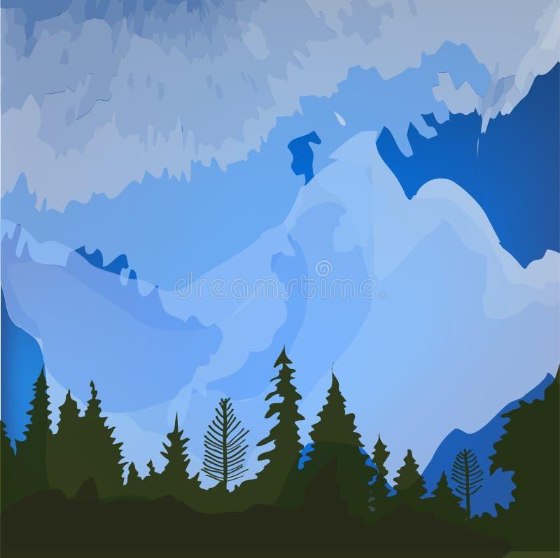 Waldklimalandschaftshintergrund für die Karte oder die Tourismusfahne Auch im corel abgehobenen Betrag stock abbildung