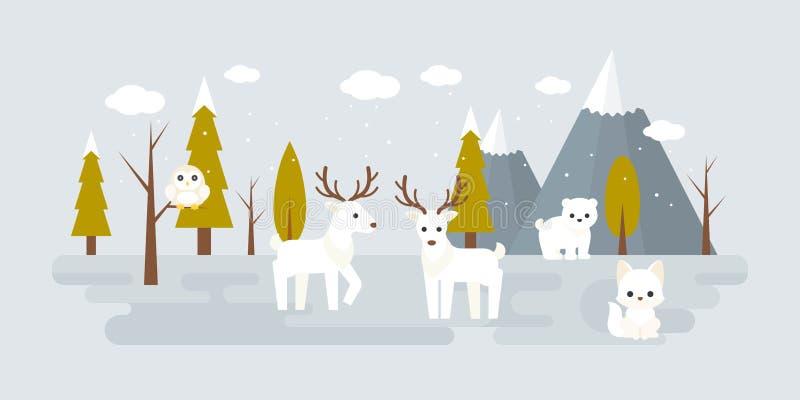 Waldlandschaft im Winter stock abbildung