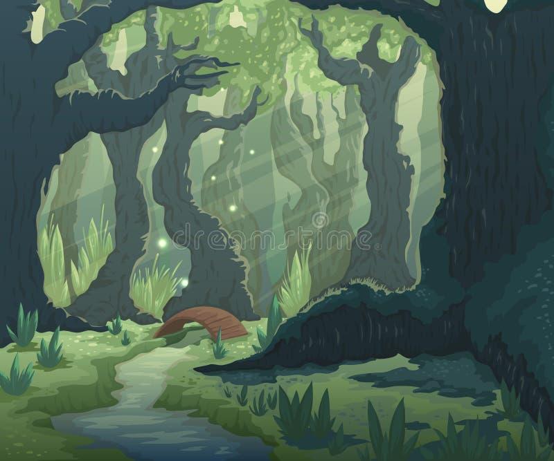 Waldlandschaft mit Bäumen, Fluss und Brücke Karikaturmärchen-Landschaftshintergrund stock abbildung