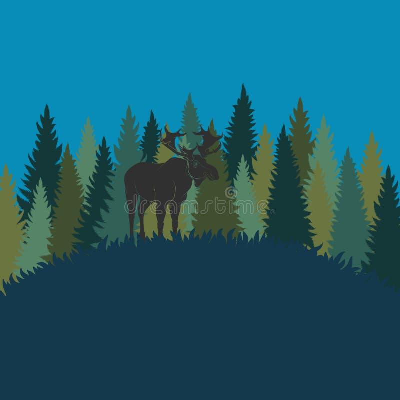 Waldlandschaft mit Elchen und Wald von Tannenbäumen Es kann für Leistung der Planungsarbeit notwendig sein vektor abbildung