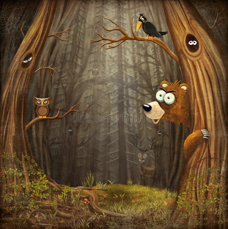 Waldlandschaft mit Tieren lizenzfreie abbildung