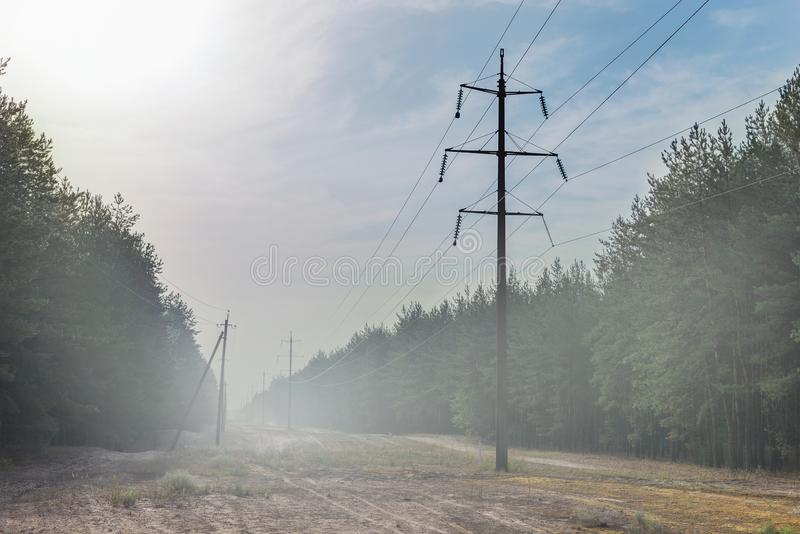 Waldlichtung mit Hochspannungsleitungsvorfahrt Stromversorgungsdrähte im Nebel am frühen Morgen stockfoto