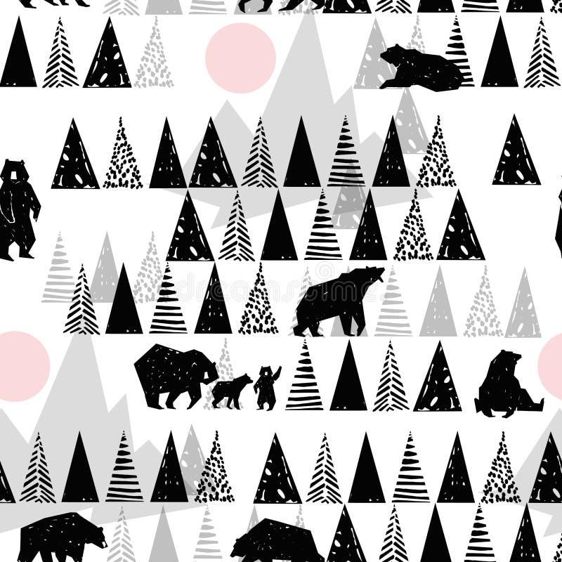 Waldnahtloses Muster Muster der wild lebenden Tiere Grizzley-Bär, der für Lebensmittel herumsucht Abstraktes Waldmuster vektor abbildung