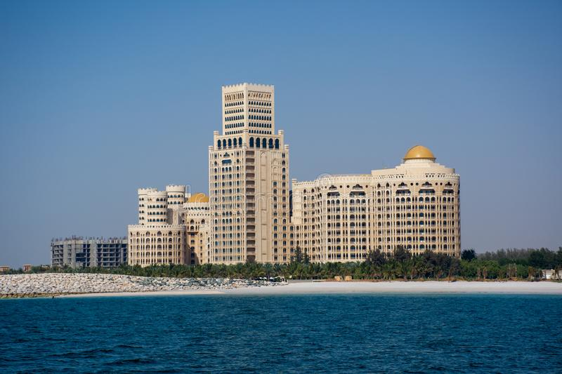 Waldorf Astoria in Ras al Khaimah, United Arab Emirates UAE with the sea and beach in view. `Ras al Khaimah, RAK/United Arab Emirates - 5/3/2019: Waldorf Astoria stock images