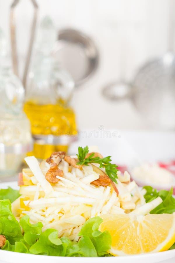 Waldorfsalade met appelen, selderie en noten stock afbeelding