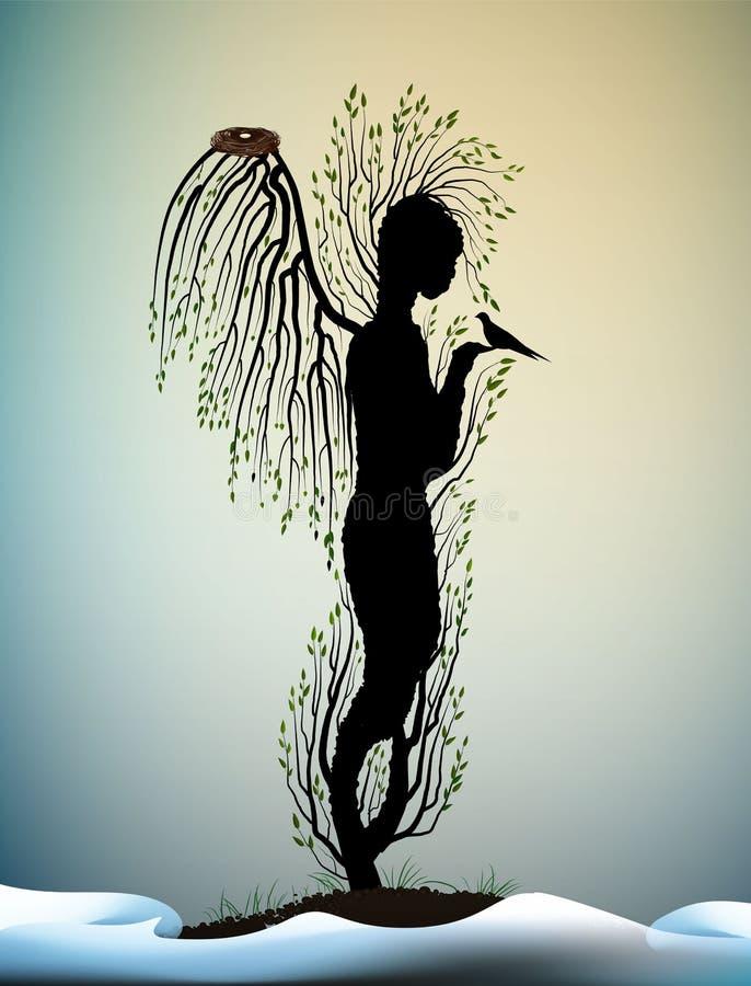 Waldseele, Baum sieht wie Engel mit Vögeln und Nest nach innen, Waldgeist, Baumskulptur mit Vögeln, Traum des Baums s aus, stock abbildung