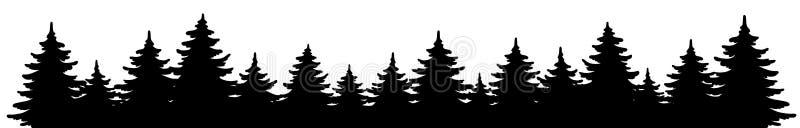 Waldvektorform Kiefernlandschaft, Panorama Handgezeichnete Schwarz-Weiß-Illustration lizenzfreie abbildung