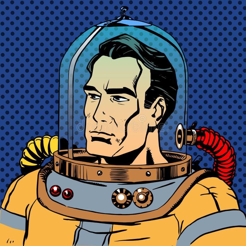 Waleczny mężczyzna astronauta w spacesuit royalty ilustracja