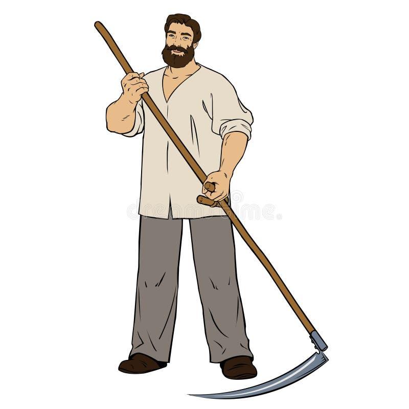 Waleczny mężczyzna kosiarz ilustracji
