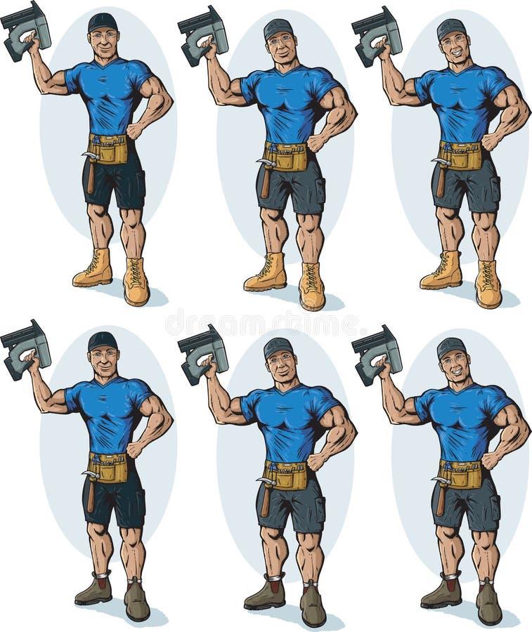 Waleczny pracownik budowlany ilustracja wektor