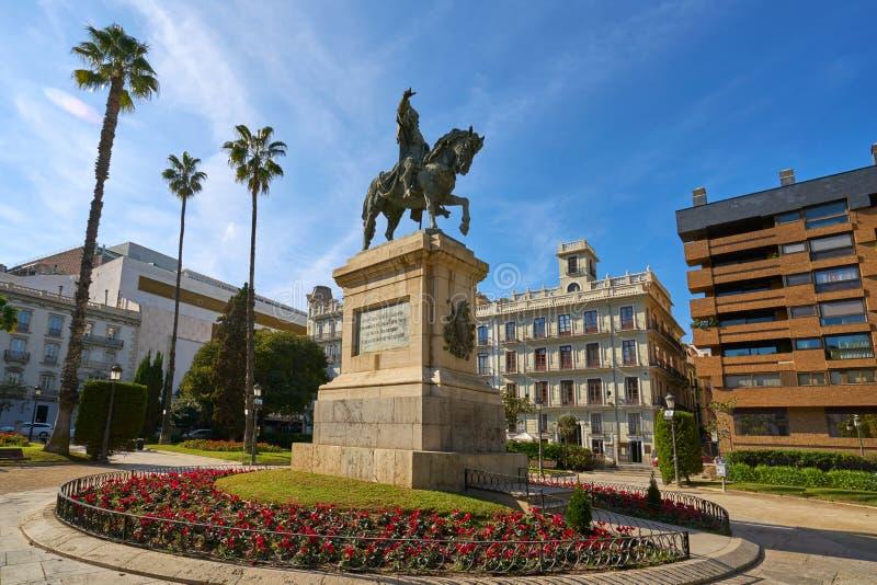 Walencja Parterre Alfonso Magnanimo statua fotografia stock