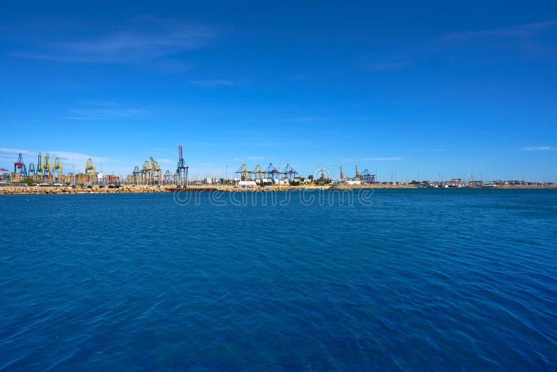 Walencja portu widok od Pinedo plaży Hiszpania obraz royalty free