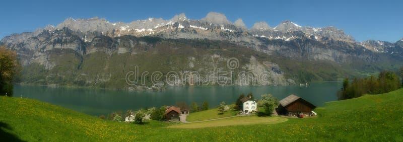 WALENSEE,瑞士,全景 免版税库存照片