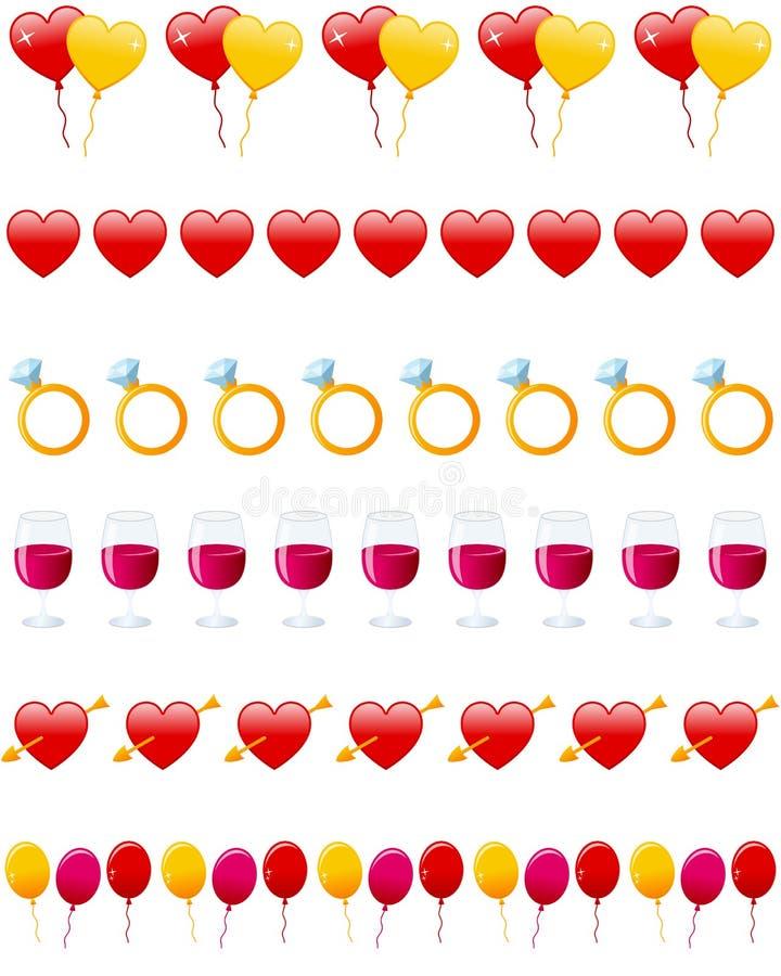 Walentynek Dzień Dividers Ustawiający royalty ilustracja