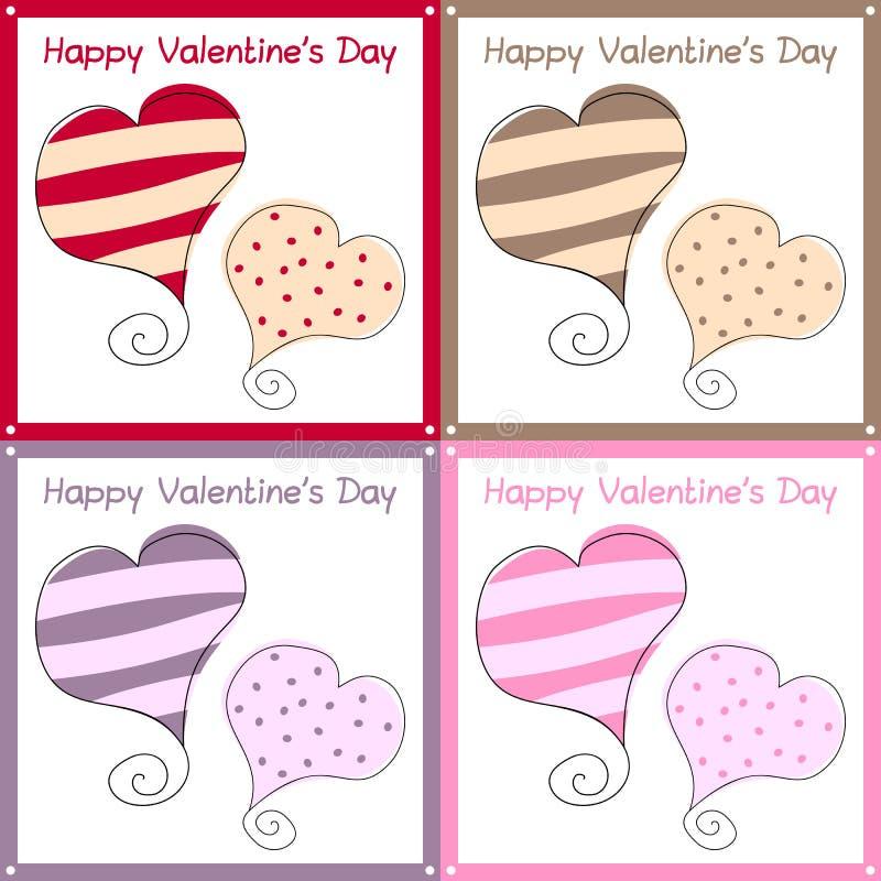 Walentynek Dzień Retro Karty ilustracja wektor