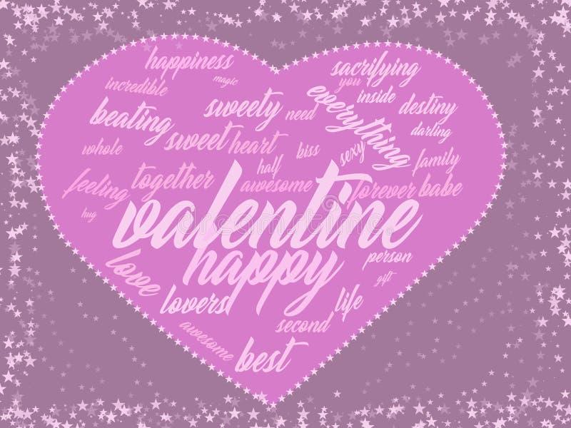 Walentynek menchii karty słowa kierowa chmura royalty ilustracja