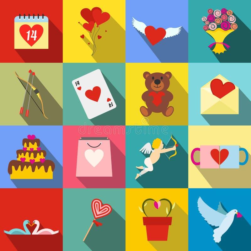 Walentynek płaskie ikony ustawiać ilustracji