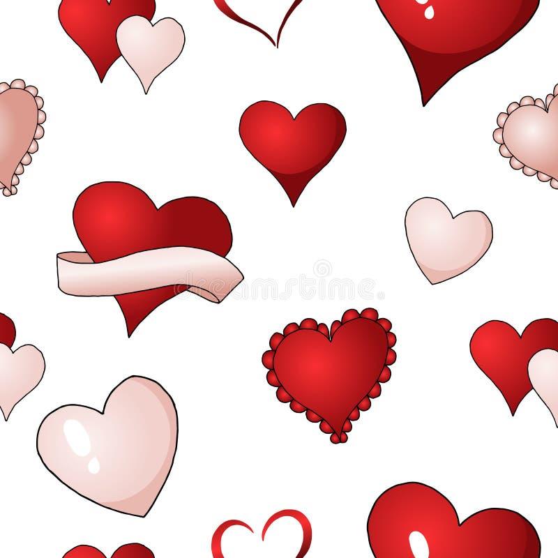Walentynek serc wektorowego bezszwowego deseniowego tła powtórkowa tekstylna farba ilustracji