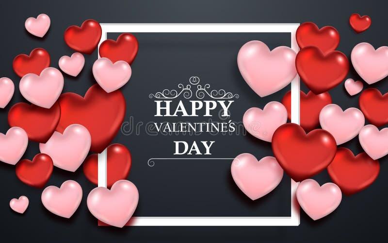 Walentynka dnia abstrakcjonistyczny tło z sercami i ramą royalty ilustracja
