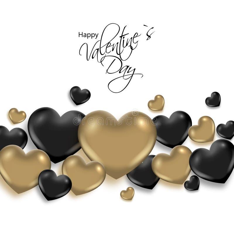 Walentynka dnia abstrakcjonistyczny tło z złotymi i czarnymi sercami ilustracja wektor