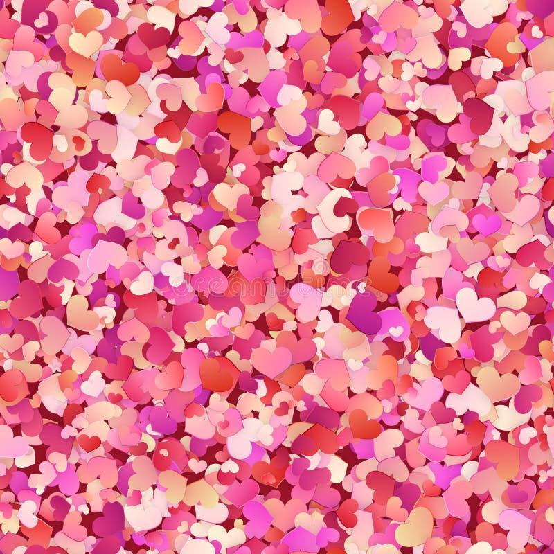 Walentynka dnia bezszwowy wzór z czerwienią, menchia, pastelowi mali serca 10 eps royalty ilustracja