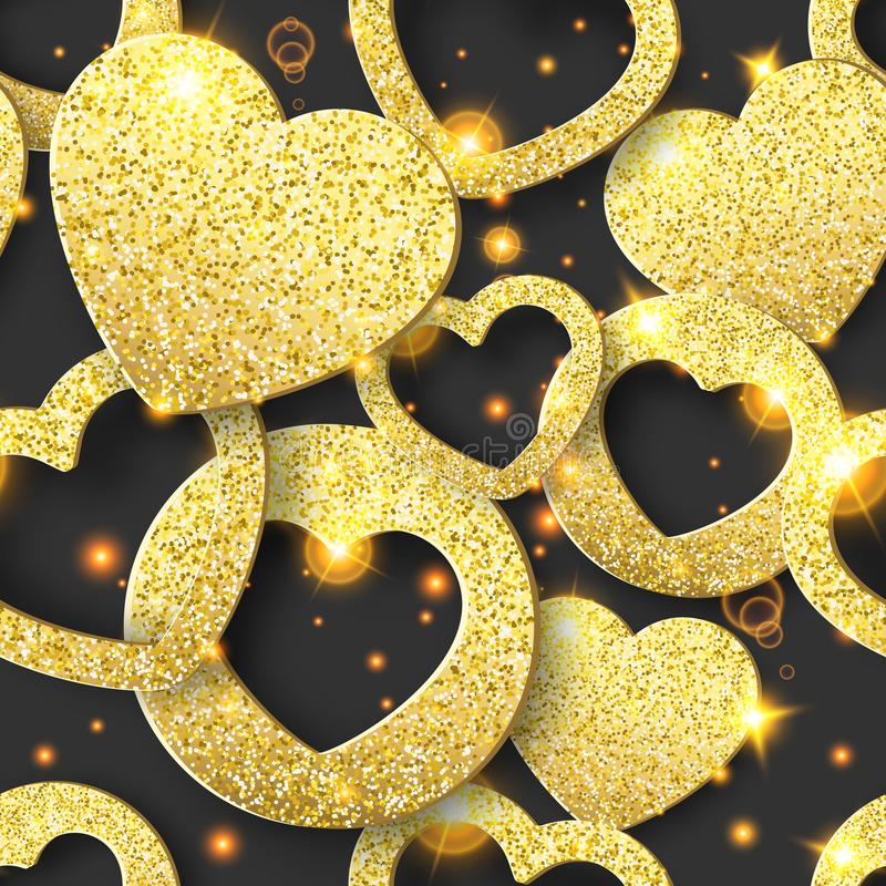 Walentynka dnia bezszwowy wzór z olśniewającymi sercami Wakacje karciana ilustracja na ciemnym tle ilustracja wektor