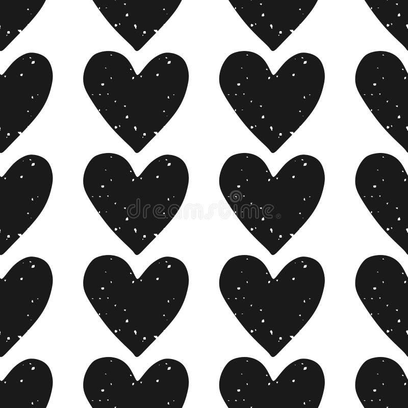 Walentynka dnia blokowego druku bezszwowy wzór z grunge textured czarnych serca na białym tle ilustracja wektor