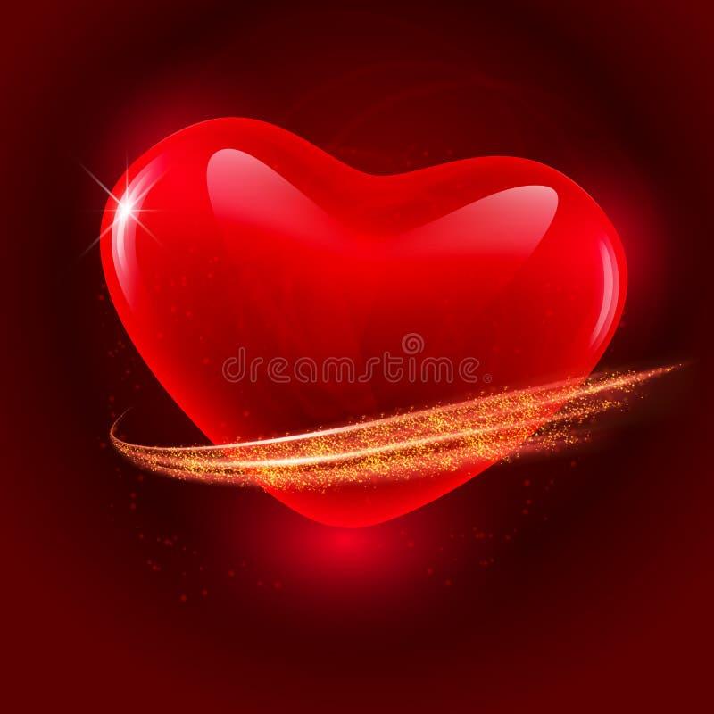 Walentynka dnia ciemny tło z czerwonym krystalicznym sercem jaśnienie macha i bryzga błyskotliwość royalty ilustracja