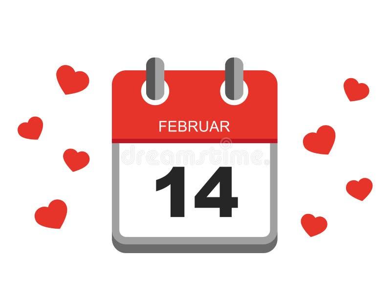 Walentynka dnia czerwieni kalendarza ikony wektor 14th Luty z sercami ilustracji