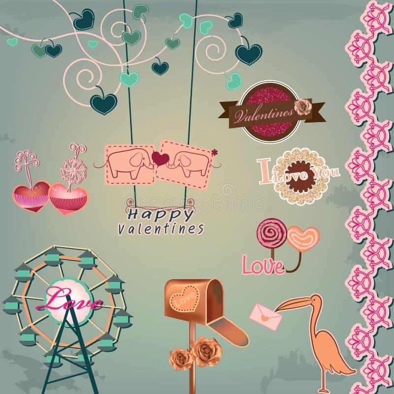 Walentynka dnia etykietki ilustracja wektor