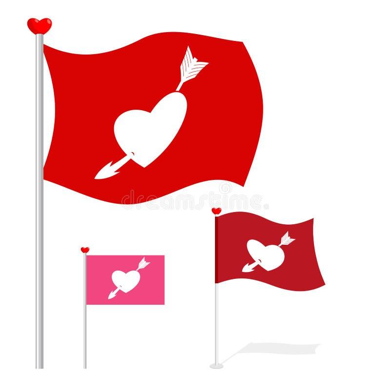Walentynka dnia flaga Czerwony sztandaru serce, strzała i ilustracja wektor