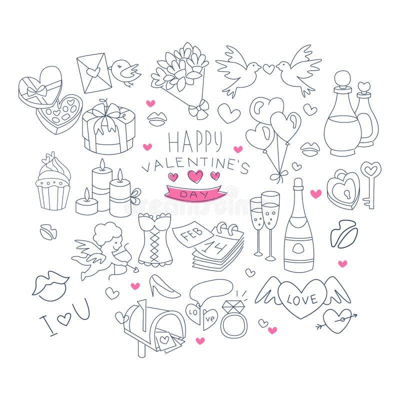 Walentynka dnia Handdrawn symbole Inkasowi ilustracja wektor