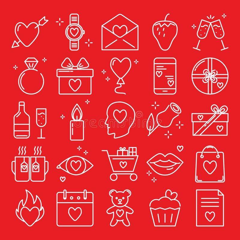 Walentynka dnia ikona ustawiająca w kreskowym stylu ilustracja wektor