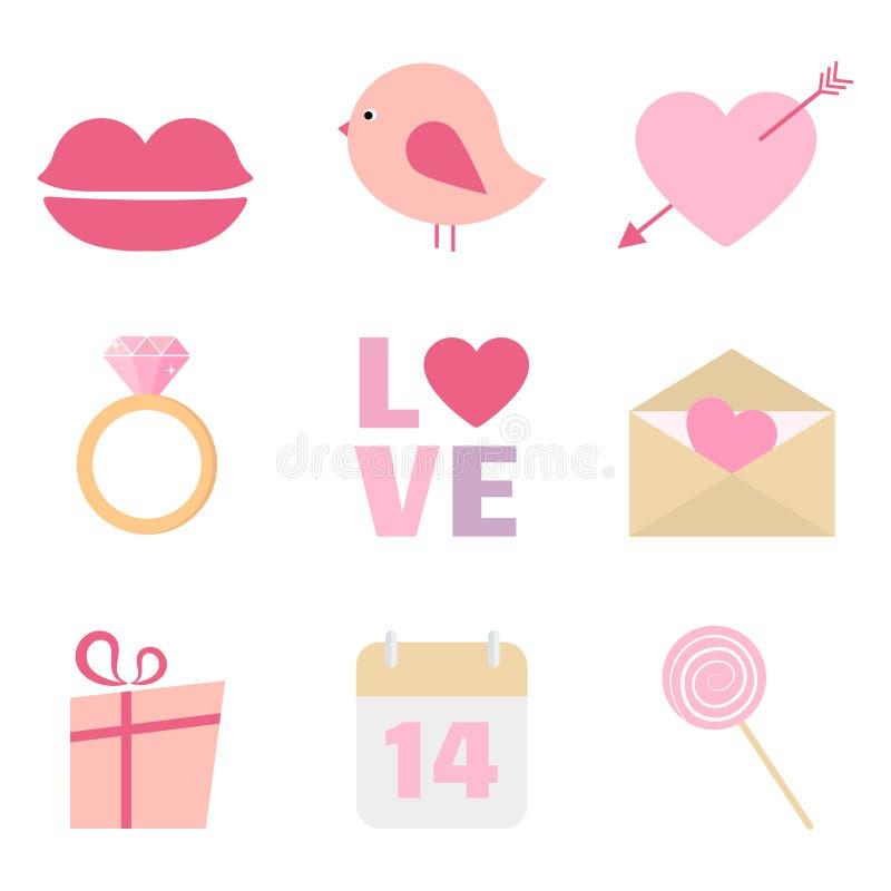 Walentynka dnia ikony wektorowy set obrazy stock