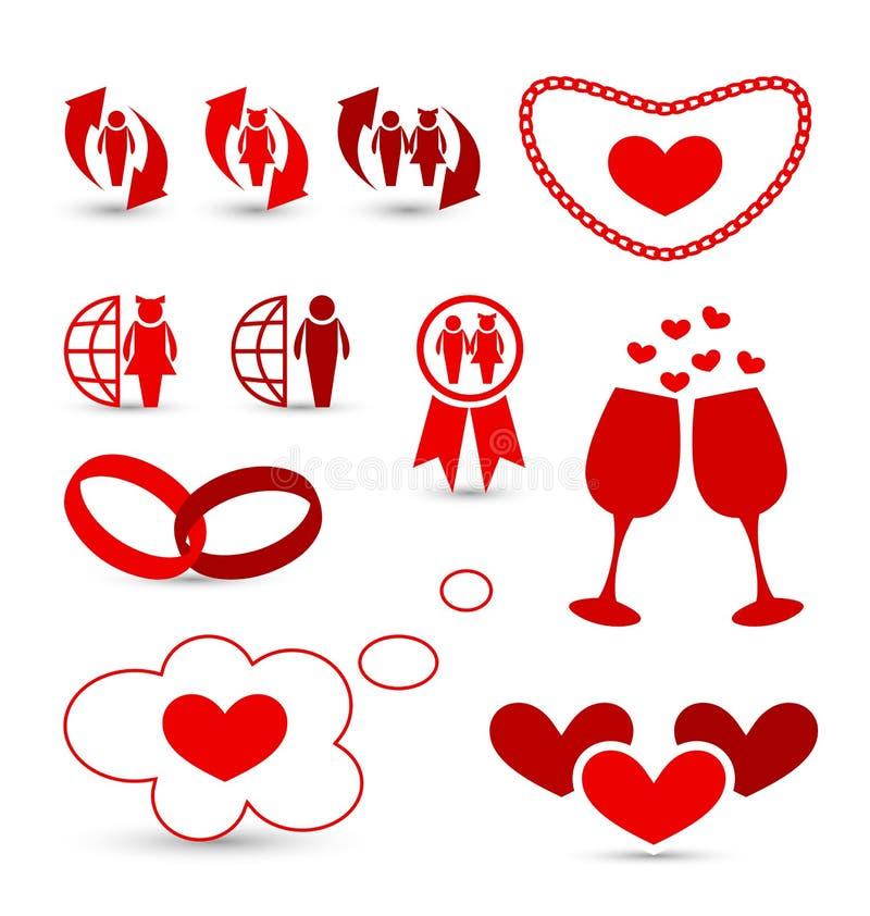 Walentynka dnia infographics i ślubu projekta ele royalty ilustracja