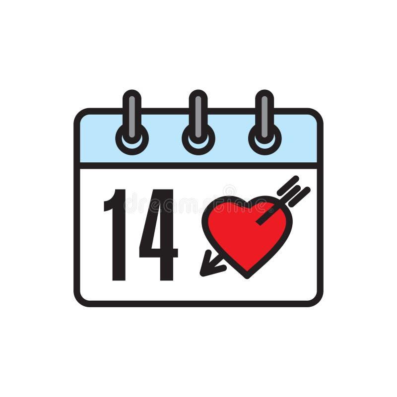Walentynka dnia kalendarza ikona na białym tle dla grafiki i sieci projekta, Nowożytny prosty wektoru znak kolor tła pojęcia, nie ilustracja wektor