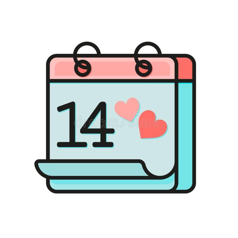 Walentynka dnia kalendarza mieszkania ikona Luty 14 Świątobliwy walentynka dzień Kolorowa kalendarzowa ikona odizolowywająca na b ilustracji